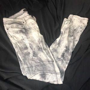 Acid washed moto jeans